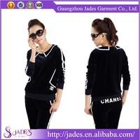 2015 Hot sale plus size zip up women velour jogging suit