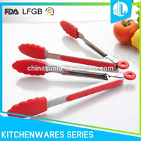 Easy handle china made high quality antirust steel rubber food tongs