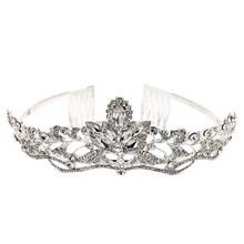Wedding Elegant Opalescent Stone Tiara Rhinestone Crystal Bridal Headband with Combs