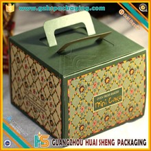 Eco-friendly full color printed artpaper cake packaging cake box with die-cutting handle
