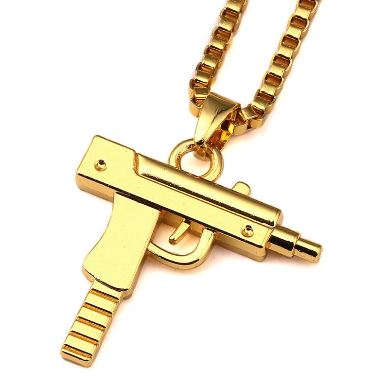 Cool design stainless steel gold covered men uzi gun pendant uzi gun pendant necklace 2g aloadofball Gallery