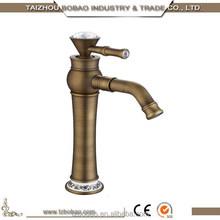 Old Fashion Diamond Antique Faucet Antique Brass Basin Faucet Ceramic valve element One Handle One Hole Rose Gold Antique Tap