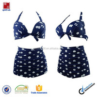 Navy blue and White Polka Vintage Plus size High Waisted Bikini Swimwear 2015