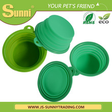 Silicone collapsible ring rubber dog bowl