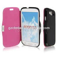 With magnetic genuine leather case cover for samsung galaxy s3
