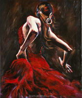 Beautiful lady dance wall painting sexy woman figure Spanish flamenco dancer oil painting
