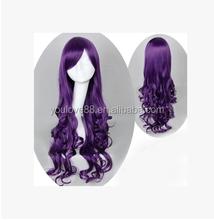 2015 charming Long Dark Purple Hair Curly Cosplay wig weaving