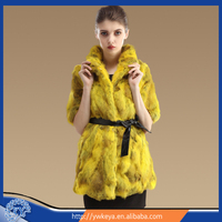 2015 long style stand collar design Charming Rabbit Winter Fur Coat with Belt