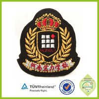 Manufacture new design Embroidered military Bullion cap badge