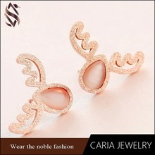 Fashion opal earrings,Stainless steel earring in deer altler shape,ladies earrings design pictures
