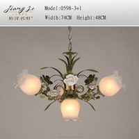 Classical American rural antique European style iron white glass pendant lighting chandelier