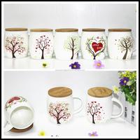 beautiful tree design ceramic mug with bamboo lid and handle JZ135