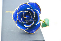 Dark Blue 24k Gold Rose 30*6cm Real 24K Gold Dipped Rose Valentine's Day Gifts