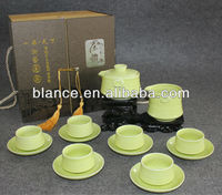 elegant grass green tea set with 9pcs/set with gift box