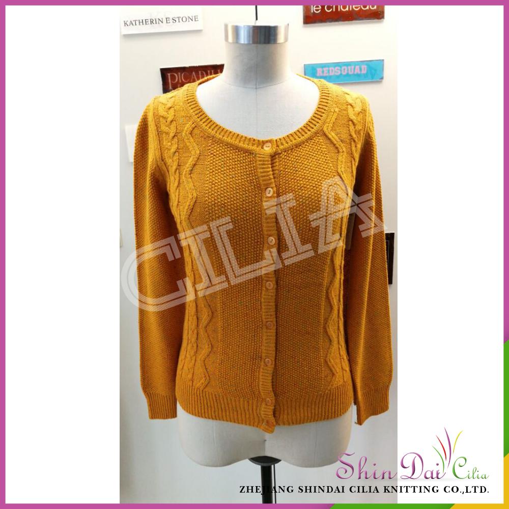 Raisonnable prix vente élégant orange dame pull en tricot cardigan avec neps fils