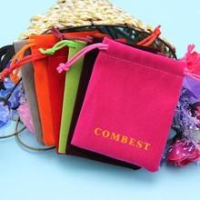 various colors cheap velvet pouch bag , custom printed drawstring velvet jewelry bag