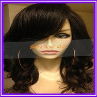 Best Quality Lace Wigs Brazilian Virgin Loose Wave Human Hair Lace Front Wig With Side Bangs For Black Women