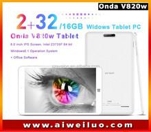 Wholesale 8.0'' IPS 1280*800 ONDA V820W dual boot Intel Z3735F Quad Core Win8.1 tablets pc 2GB RAM 16G/32G ROM BT4.0 4200mAh