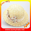 wholesale fashion girls straw boater hat lace flower straw hat