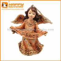 Custom home decoration craft angel peace Christmas resin statue