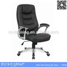 Respaldo alto ejecutivo de cuero negro silla de oficina, moderno de lujo negro de cuero silla de oficina rq80162cc-1