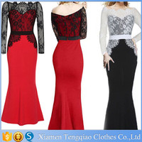 2015 Fashion Black And White Lace Long Alibaba Evening Maxi Dress For Sale