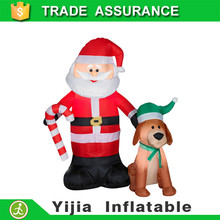 Competitive price inflatable christmas decoration dog and santa claus
