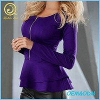 Ladies Long Sleeves Round Neck Peplum Top With Zipper Front