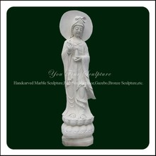 Large Handcarved Marble Kuan Yin Statue For Sale
