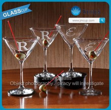 Logo frosted initial Martini 4pc set high white glass cheaper Stemmed Cocktal Glass Cup Crystal martini drinking glass stemware