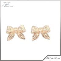 Occident cartoon bowknot alloy stud earrings,knot earrings