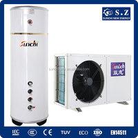 Max 65C home using for 55C hot water 3.0kw,5.0kw,7.0kw,9.0kw R410A heating +cooling COP4.2 cost cheap heat pump water heater CE
