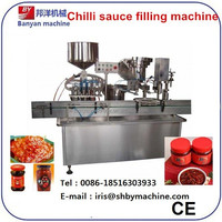 Automatic rotary type chilli sauce filling and capping machine/0086-18516303933