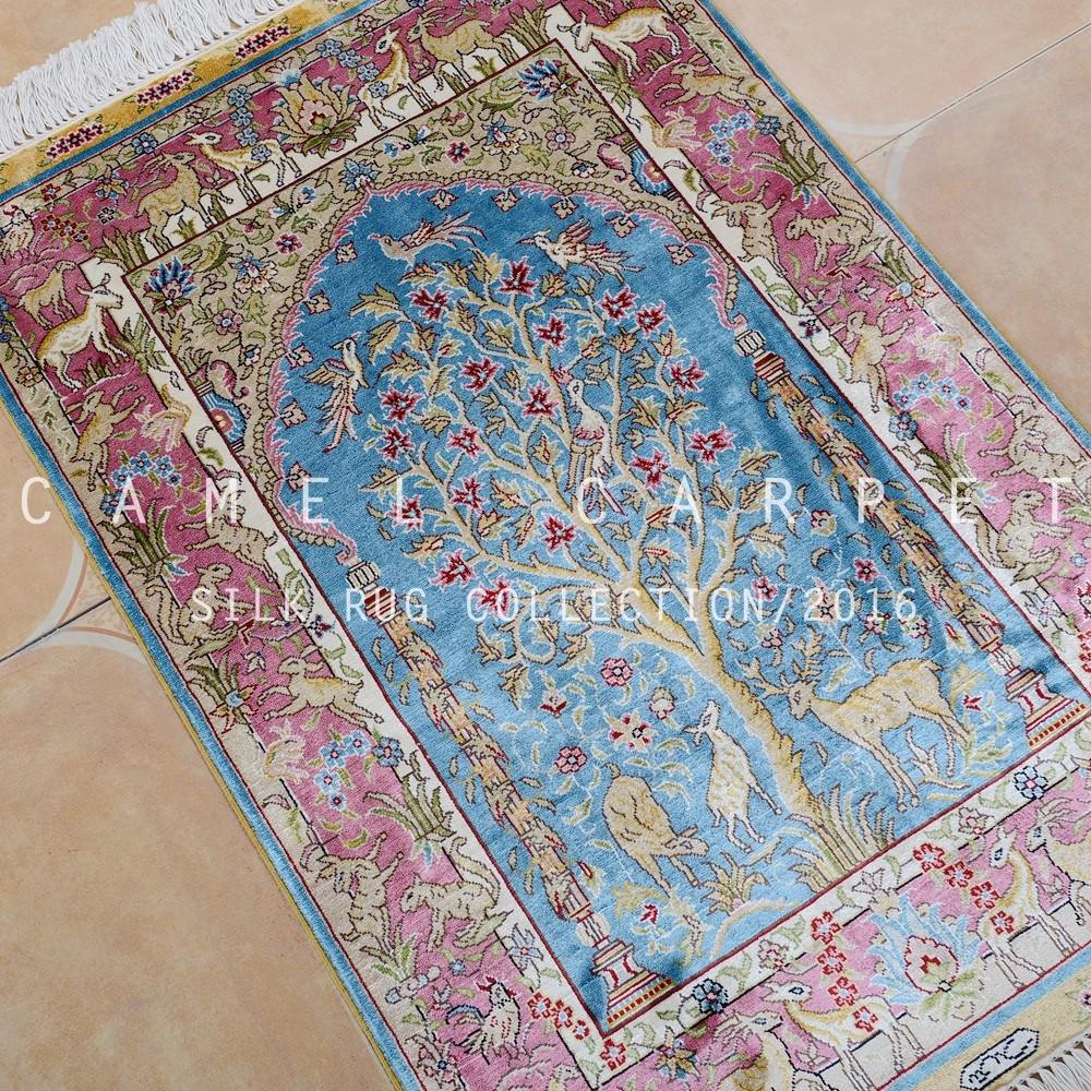 Blu tradizionale seta tappeti persiani tappeto 2x3 albero della ...