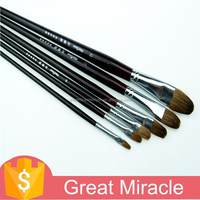 6 pcs dark red wolf hair paint brush for kid