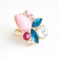 2015 Wholesale Fashion Acrylic Crystal Diamond Gold Ring Jewelry