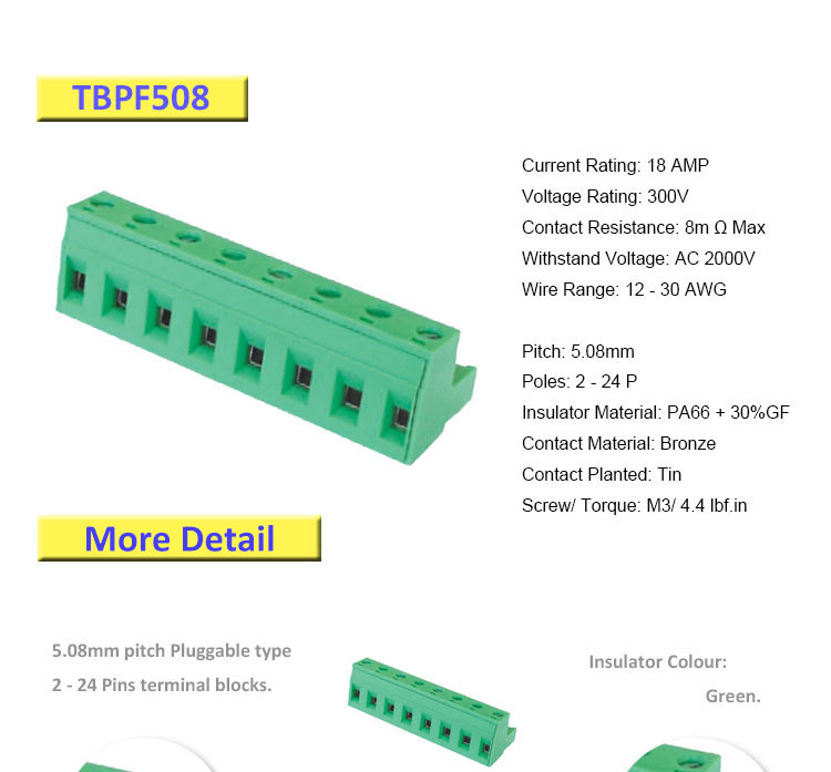 Hot Offer 5 08mm Pluggable Male And Female Terminal Block