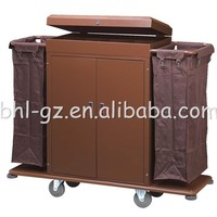 Multi purpose steel hotel specific use room service trolley house cleaning trolley hotel laundry cart with cover maids carts F20