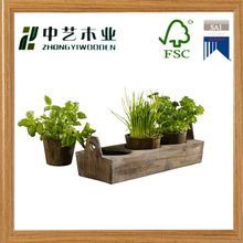 2016 new arrival handmade natural wood wooden garden plant tray wooden flower pots