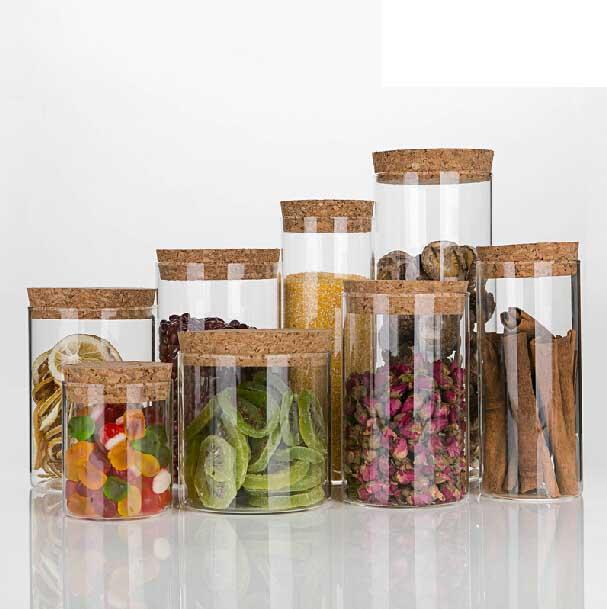 haute qualit herm tique conteneur de verre pot avec cork bois couvercle utiliser comme th caf. Black Bedroom Furniture Sets. Home Design Ideas
