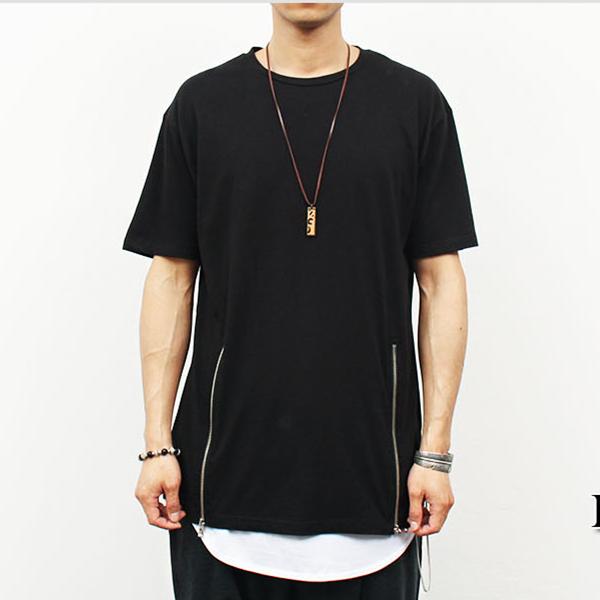 Double zipper boxy fashion long t shirt buy long t shirt for How to print shirt