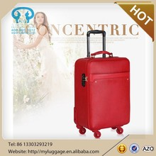 travel bag with laptop PU trolley antique leather suitcase