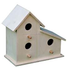 Home decors bird shape natural crafts, antique solid wooden bird house with clear painting
