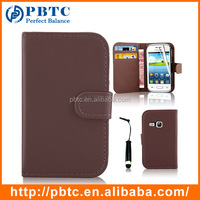 Set Screen Protector Stylus And Case For Samsung Galaxy Young S6310 , Brown Leather Wallet Shenzhen Mobile Phone Case