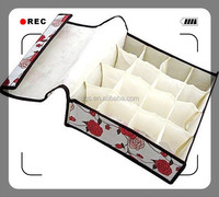 Rectangular Fabric Lined Storage Box Covered Multi-functional Foldable Underpants Storage Box 16 Squares 31*31*11cm