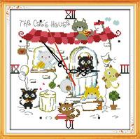 DIY Handmade Needlework Counted Cross Stitch Kits Embroidery Set 14CT The cat's clock Pattern Cross-Stitching