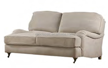 double seats classic sofa with four birch legs and linen cloth cover