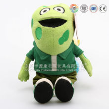 Cute design plush green frog,cute frog with T-shirt(ICTC Aduited)