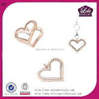 Cheap bulk floating locket floating charms wholesale heart locket with diamonds/stones China factory