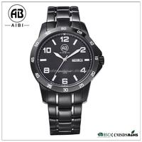stain steel fashion male quartz brand logo black 316l case waterproof wrist watch